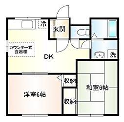 ハイリーコーエツA 1階2DKの間取り