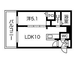 イルセントラレ南12条 4階1LDKの間取り