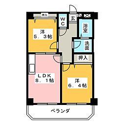 ティアラ西伊場[3階]の間取り