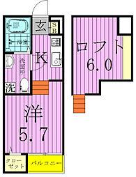 千葉県鎌ケ谷市初富本町2丁目の賃貸アパートの間取り