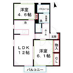 東京都国分寺市北町4丁目の賃貸アパートの間取り