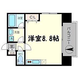 アドバンス難波南シャルム 8階ワンルームの間取り