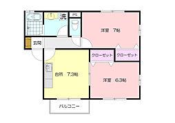 神奈川県横浜市青葉区柿の木台の賃貸アパートの間取り