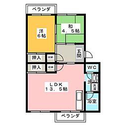 江場ハイツ[4階]の間取り
