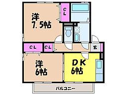 愛媛県松山市古川西1丁目の賃貸アパートの間取り