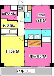 カーサ新所沢II[3階]の間取り