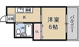 日軽コーポ 3階1Kの間取り