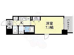 ファーストフィオーレ新梅田 3階1Kの間取り