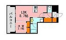 LANDIC K320 13階1LDKの間取り