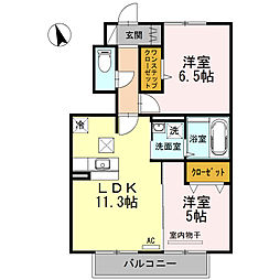 ロン・ラポール D棟[D102号室]の間取り
