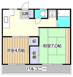 コーポキムラ[1階]の間取り