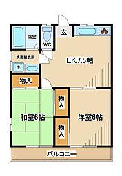 東京都府中市南町2丁目の賃貸アパートの間取り