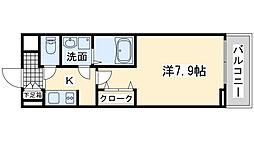南海線 岸和田駅 徒歩3分の賃貸アパート 2階1Kの間取り