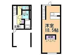 A・M・S 1階ワンルームの間取り
