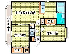 ヴォラーレ桂台[1階]の間取り
