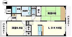 サン春日第3マンション 3階2LDKの間取り