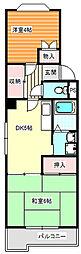 土井コーポ[4階]の間取り