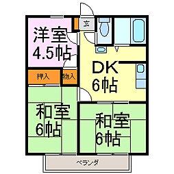 愛知県半田市新池町2丁目の賃貸アパートの間取り