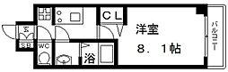 プレサンス谷町九丁目駅前 13階1Kの間取り