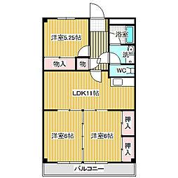 愛知県名古屋市中川区中島新町2丁目の賃貸マンションの間取り