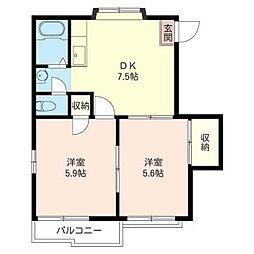 ロイヤル村田 B[2階]の間取り