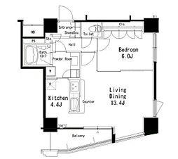 JR山手線 目黒駅 徒歩7分の賃貸マンション 14階1LDKの間取り