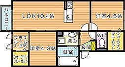 ロイヤルコート紬 B棟[2階]の間取り