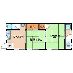 奈良県奈良市秋篠町の賃貸アパートの間取り