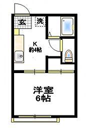 Kハウス浜町[1階]の間取り
