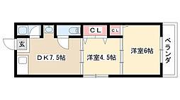 愛知県名古屋市瑞穂区船原町7丁目の賃貸アパートの間取り