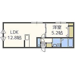 CASA PREMIATA 新道東 3階1LDKの間取り