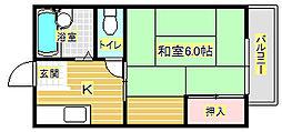 大阪府箕面市小野原東3丁目の賃貸アパートの間取り