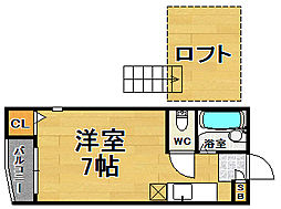 福岡県福岡市中央区白金2丁目の賃貸アパートの間取り