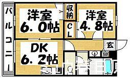 福岡県太宰府市国分2丁目の賃貸アパートの間取り