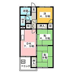 岩崎サンコーポ[4階]の間取り