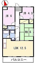 兵庫県姫路市飾東町佐良和の賃貸マンションの間取り