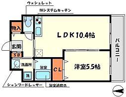 サンサーラ日光 3階1LDKの間取り