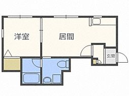 J'sコート東札幌 3階1LDKの間取り