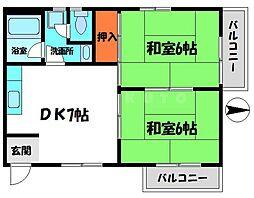 セイスイビル 3階2DKの間取り