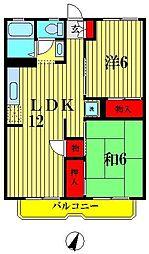 埼玉県越谷市大里の賃貸アパートの間取り