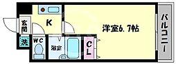 GRECALE天王寺(グレカーレテンノウジ) 6階1Kの間取り