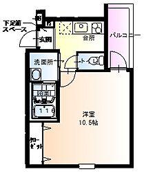 阪神本線 武庫川駅 徒歩4分の賃貸アパート 1階1Kの間取り