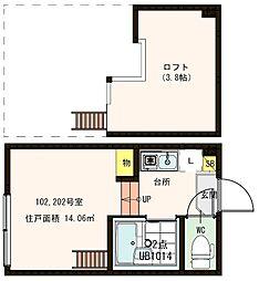 東京都足立区梅田2丁目の賃貸アパートの間取り