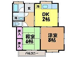 愛媛県松山市朝生田町7丁目の賃貸アパートの間取り