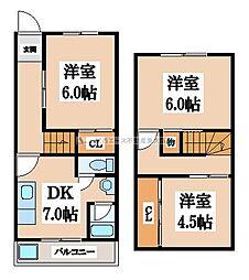[テラスハウス] 大阪府東大阪市友井2丁目 の賃貸【/】の間取り