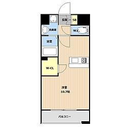 LIBTH(リブス)平尾II 3階ワンルームの間取り