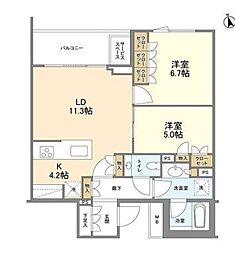東京メトロ日比谷線 広尾駅 徒歩12分の賃貸マンション 2階2LDKの間取り