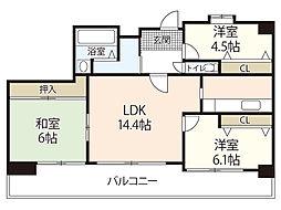 ロイヤルシャトー新宮苑 9階3LDKの間取り