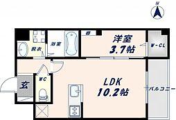Osaka Metro千日前線 北巽駅 徒歩17分の賃貸マンション 6階1LDKの間取り