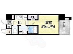 JR東海道・山陽本線 岸辺駅 徒歩5分の賃貸マンション 8階1Kの間取り